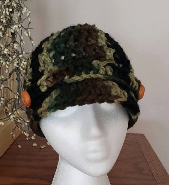 Newsboy Hat in Camo with Leather look buttons FREE by Shelleden