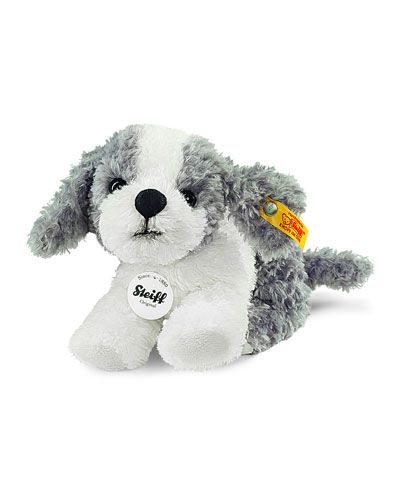 Steiff Little Tommy Stuffed Plush Puppy, Gray/White Toy