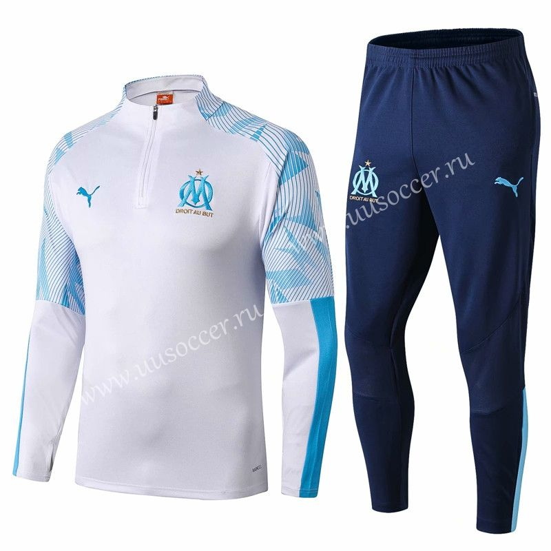 2019-2020 Olympique de Marseille White Thailand Soccer Tracksuit ...