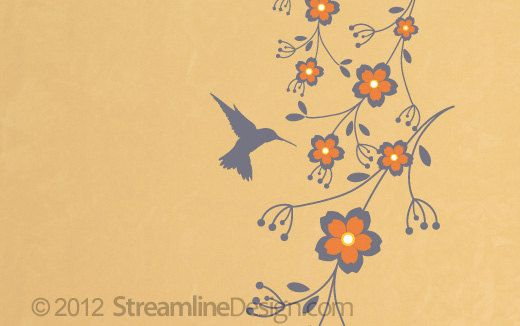 Hummingbird on Flowers Vinyl Wall Art by StreamlineDesign on Etsy ...