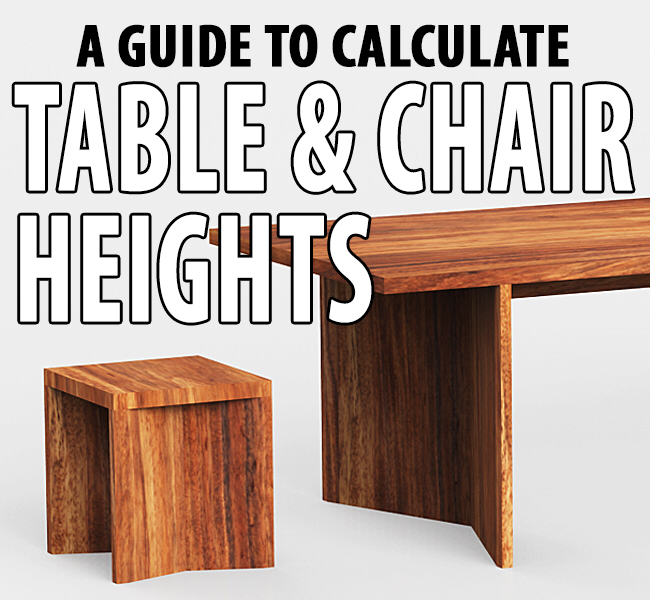 List of Standard Table & Chair Heights Dining table