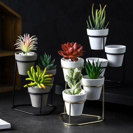 Ceramic plant pot Zen Men Air Plant Holder desk accessories Indoor Plant boho decor Gift Desktop Planter