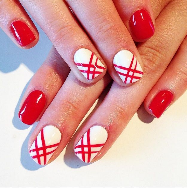 Geometric Designs Red And White Nail Art Designs To Try On Valentine S Day Red And White Nails Red Nails White Nail Designs