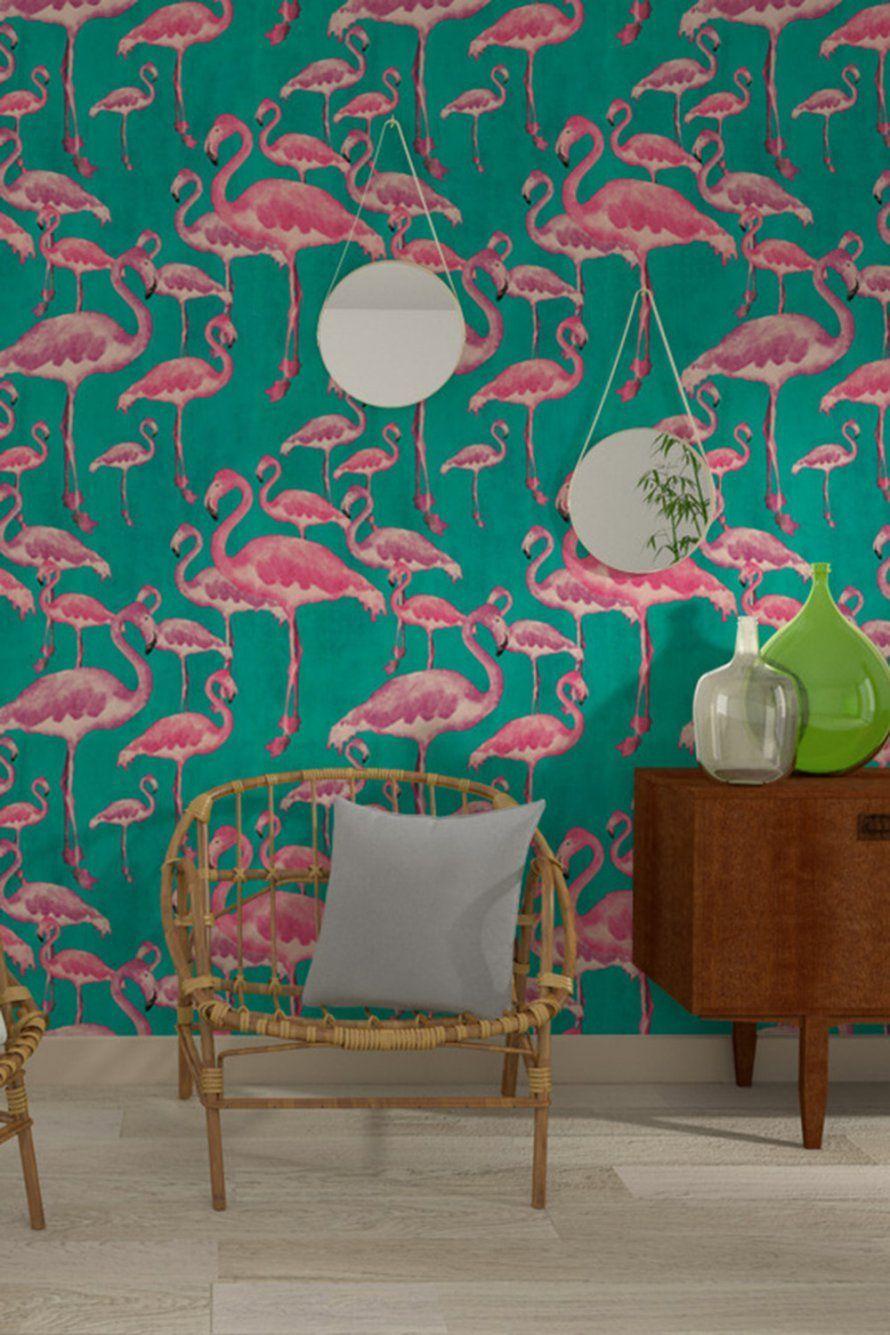 Papier Peint Flamant Rose 4murs 4murs Flamant Papier Peint Rose In 2020 With Images Tropical Decor Decor Flamingo Wallpaper