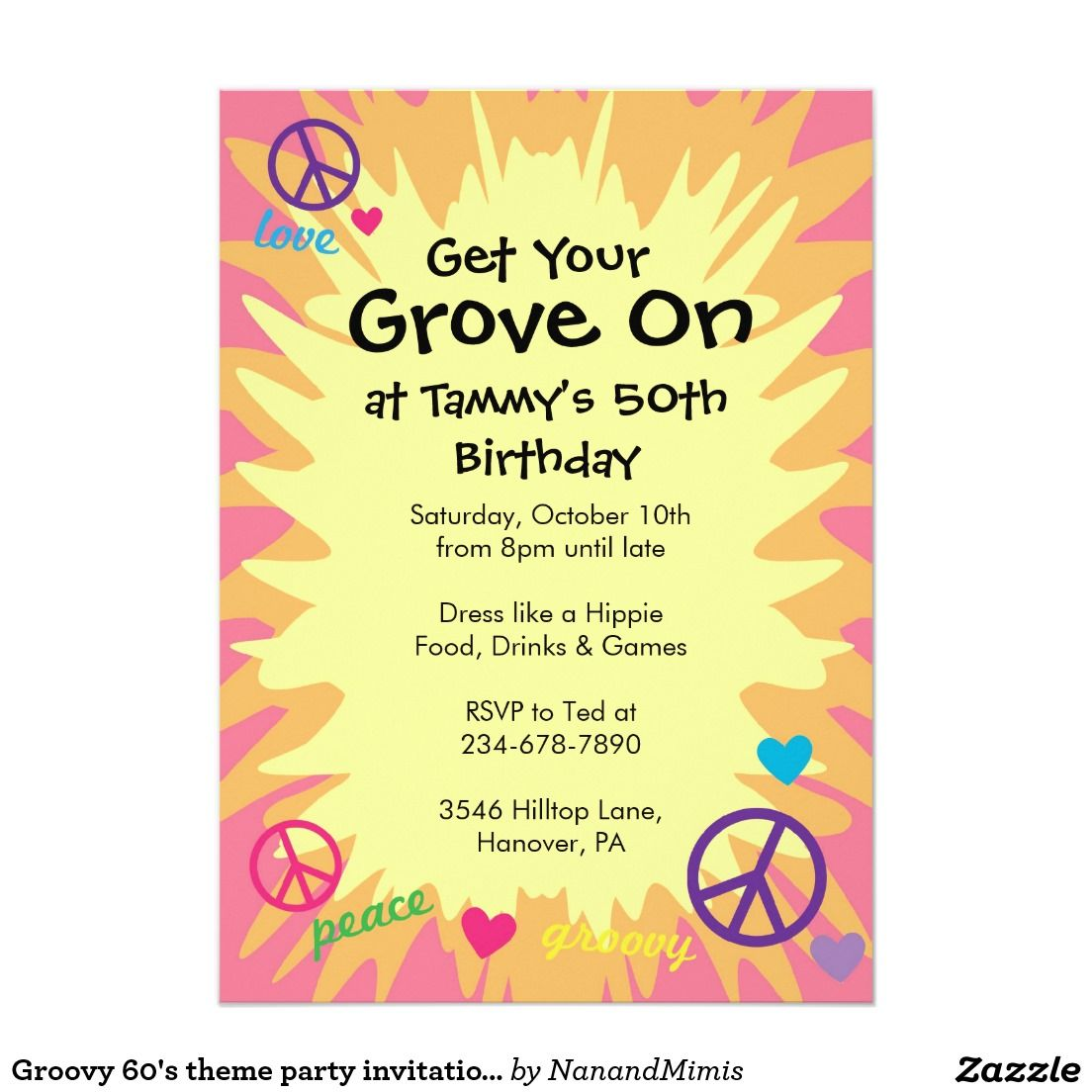 Groovy 60\'s theme party invitations | Party invitations, Hippie ...