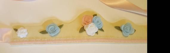 Felt Crown, Flower Girl Crown,  Birthday Crown,  Princess Crown, Rose and Ruffle Crown, Cake Smash #feltcrown