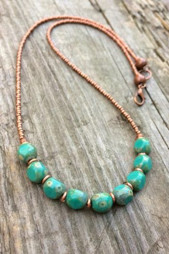 Photo of Turquoise Necklace Turquoise Beaded Necklace Copper