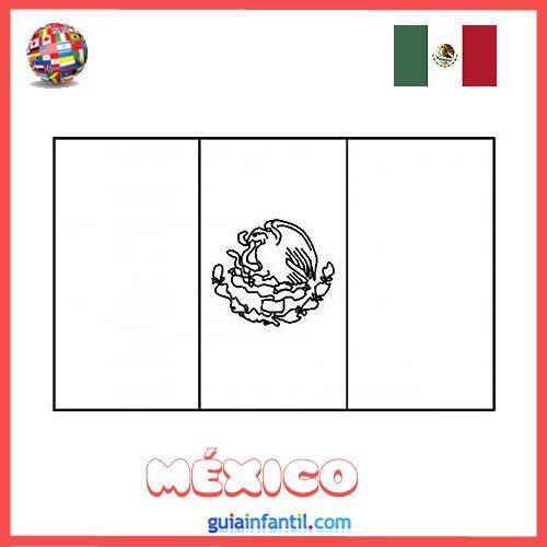 Dibujo de la bandera de México para colorear e imprimir | Ideas para ...