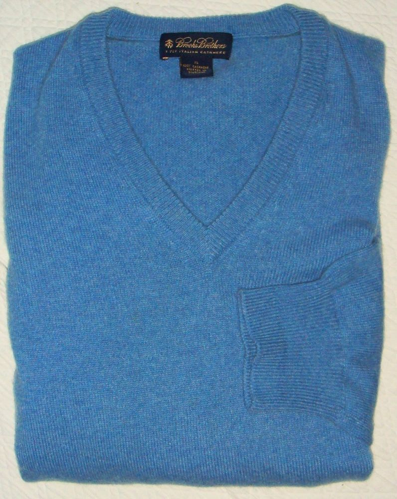 Brooks Brothers 3-Ply Italian Cashmere Medium Blue Heathered V ...