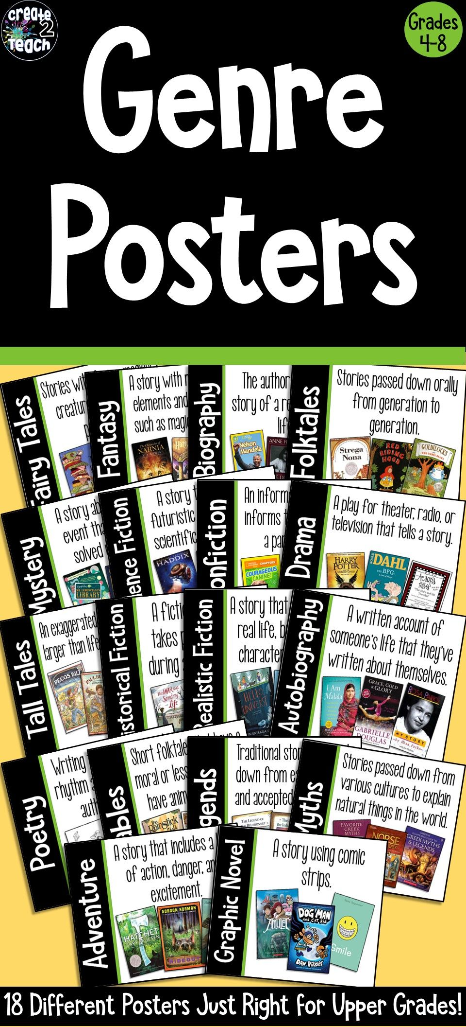 Reading Genre Poster Set For Upper Elementary And Middle School Middle School Classroom Middle School Reading Middle School Science