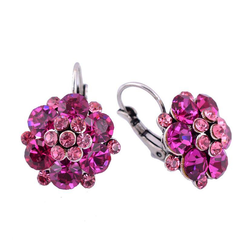 Prezzo basso di vendita di strass a forma di fiore rosa rossa orecchini di cristallo per le donne del partito shamballa boho orecchini