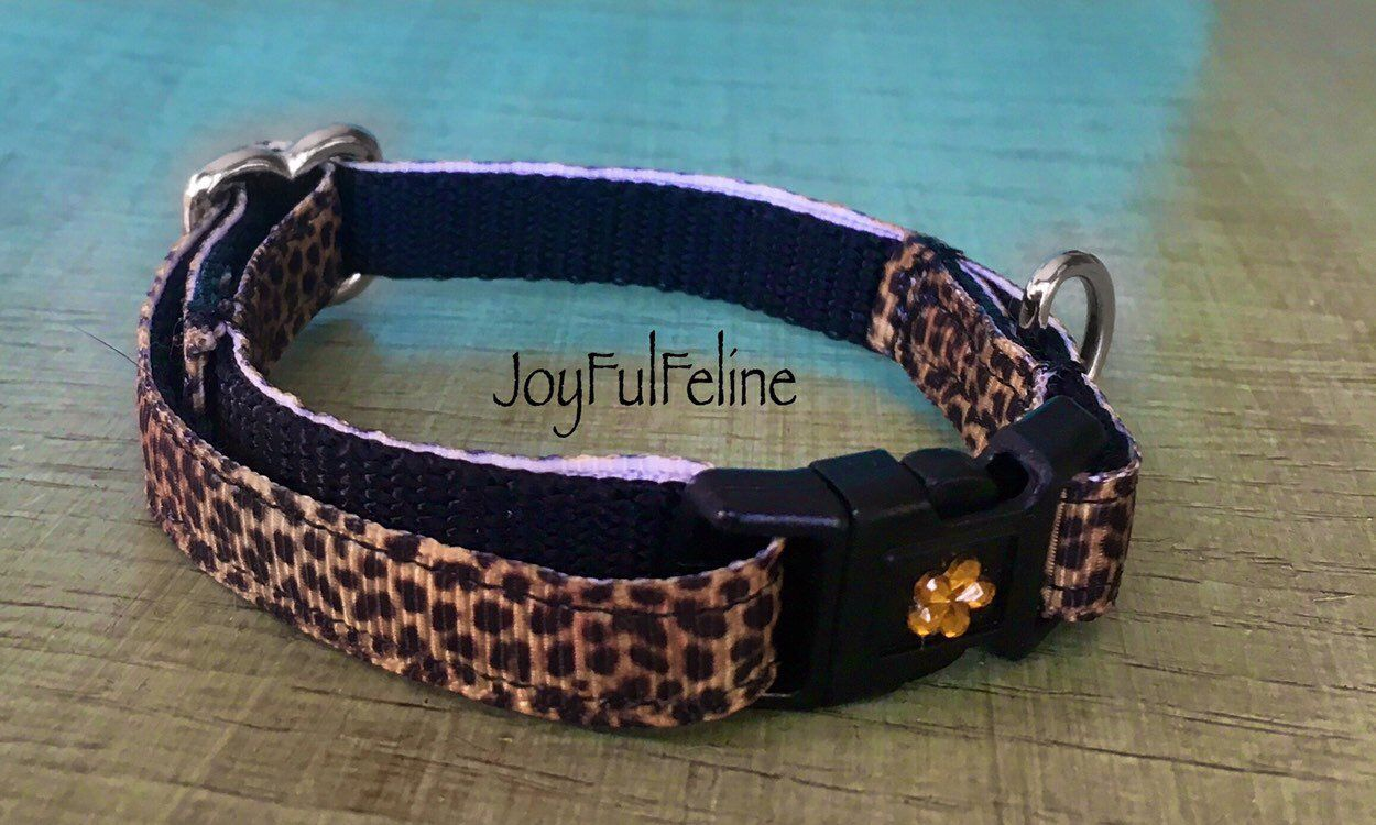 Leopard Cat Collar Or Cat Harness Breakaway Buckle Safety Cat Collar Colorful Cat Collar Kitten Collar Handmade Kitty Collar Kitten Collars Cat Collars Cat Harness