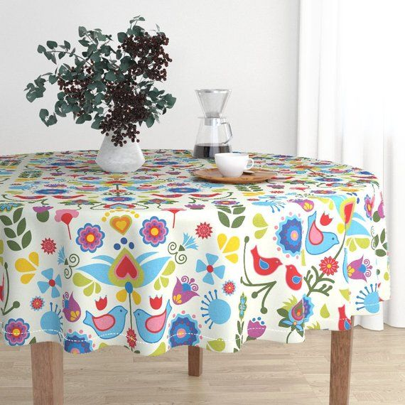 Folk Art Round Tablecloth Scandinavian Birds And Blooms By Linziloop Floral Nursery Cotton Sateen Circle Tablecloth By Spoonflower In 2020 Round Tablecloth Table Covers Spoonflower Fabric