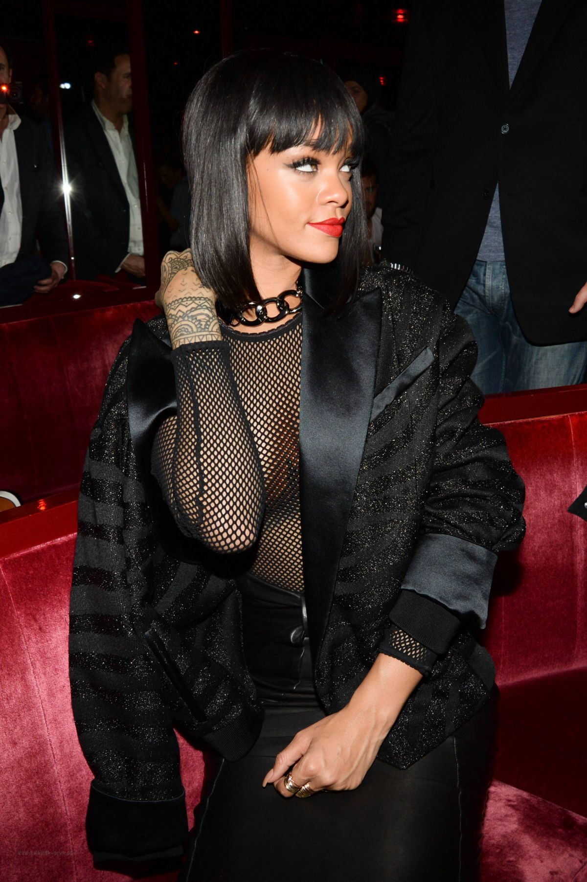arrives super cheap lace up in 2014 - RIHANNA at Balmain Fashion Show After Party in Paris ...