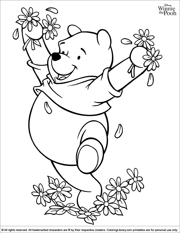 Winnie The Pooh With Flowers Coloring Page Disney Coloring Pages Coloring Pages Winnie The Pooh
