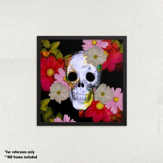 Gothic Home Decor, Floral Skull Art Print, Dia de Los Muertos, Weird Art #gothichome