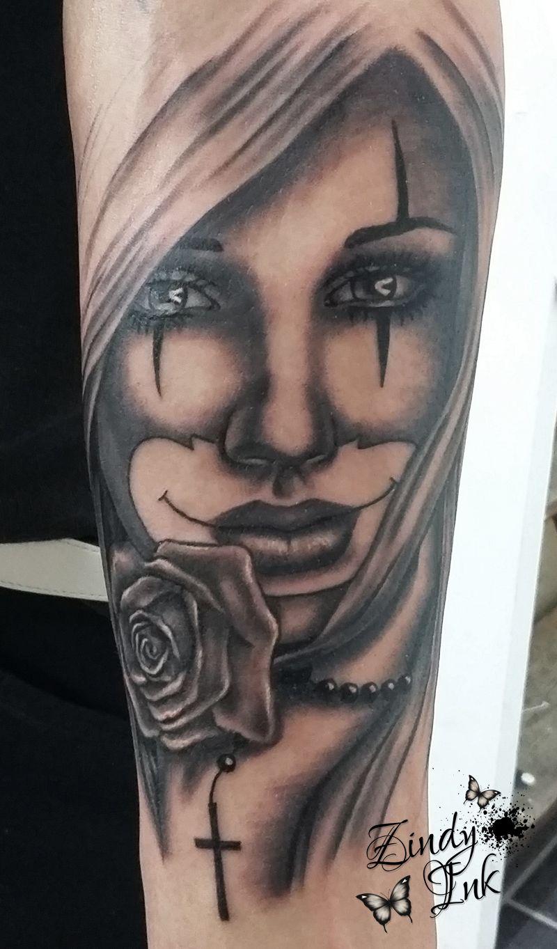 Tattoos zindy ink tattoo artist illustrator zindyink for Chicano clown girl tattoos