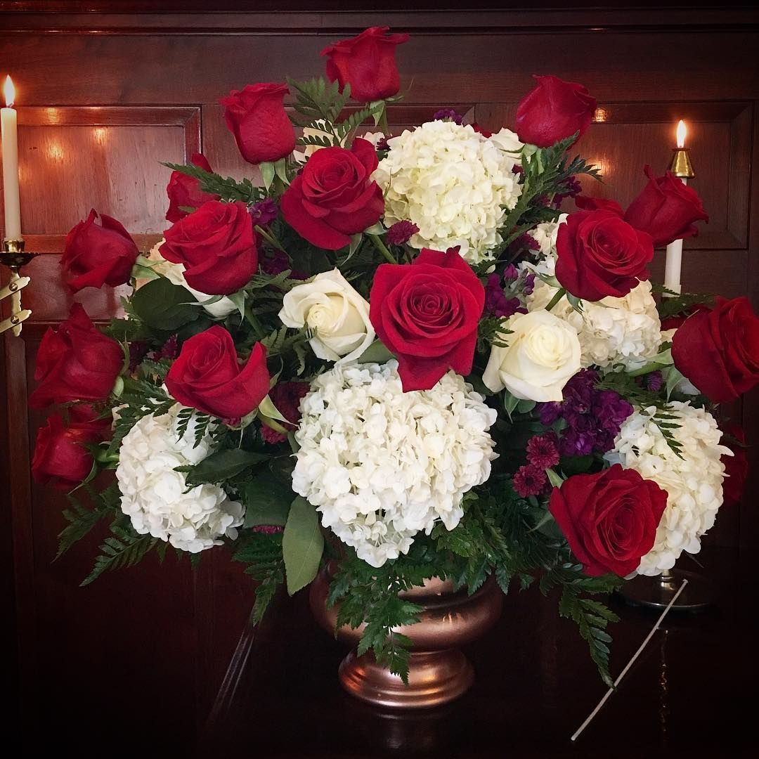 White And Gold Wedding Flowers: Ceremony Flowers. Red Roses, White Roses, White Hydrangea