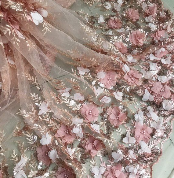 Fabulous Pale Pink Lace Fabric 3D Chiffon Beaded Flowers Embroidered Fabric  For Costume Dress Appliq 840fd294ba05