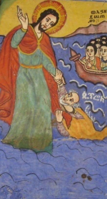 PEDRO, apóstol, sostenido por Jesús
