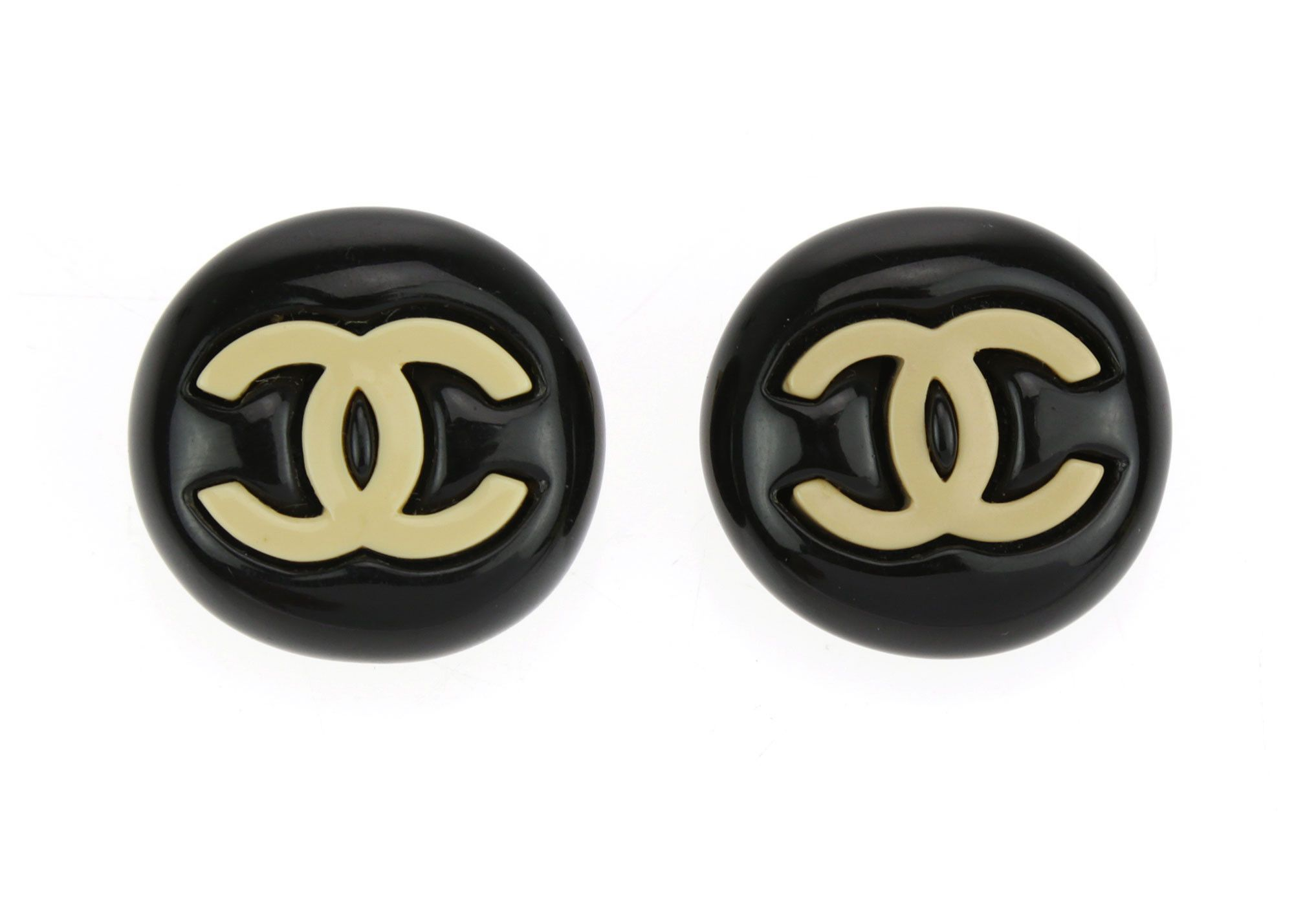 Chanel Black Resin Round CC Logo Earrings