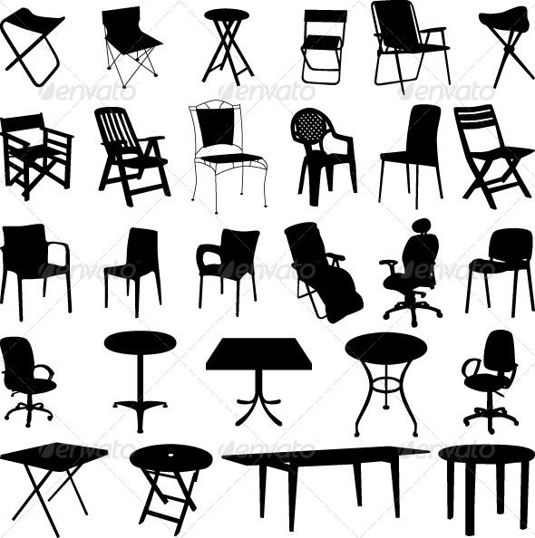 Chair And Table Silhouette Vector Silhouette Vector Silhouette Interior Illustration