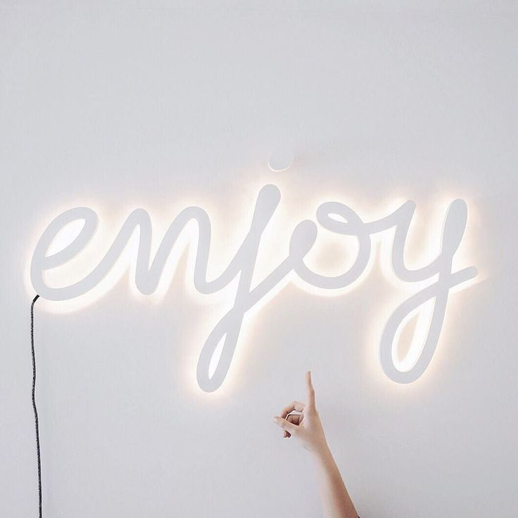 Enjoy White Neon Sign You Only Have One Life So Lets Make The Best Out Of It Have Fun Go On Adventures Eat The Cake An Neon Signs Neon Lighting Inspiration