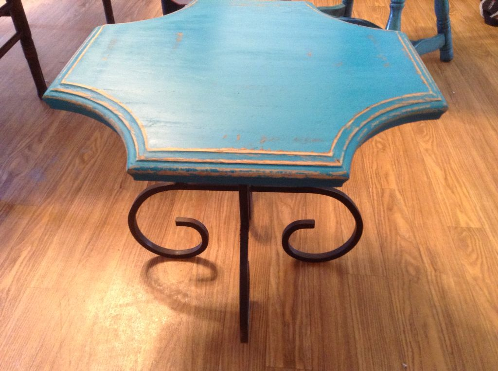 Small table with Waverly chalk paint and distressing with sandpaper.