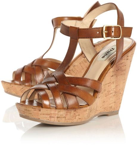 T Bar Wedge Sandals