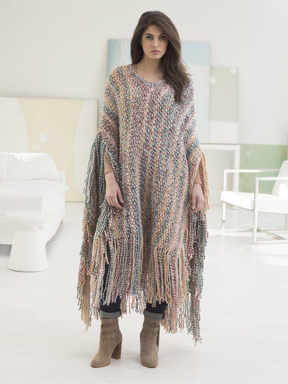 Big Sky Poncho (Knit) - Patterns - Lion Brand Yarn | I Love Knitting ...