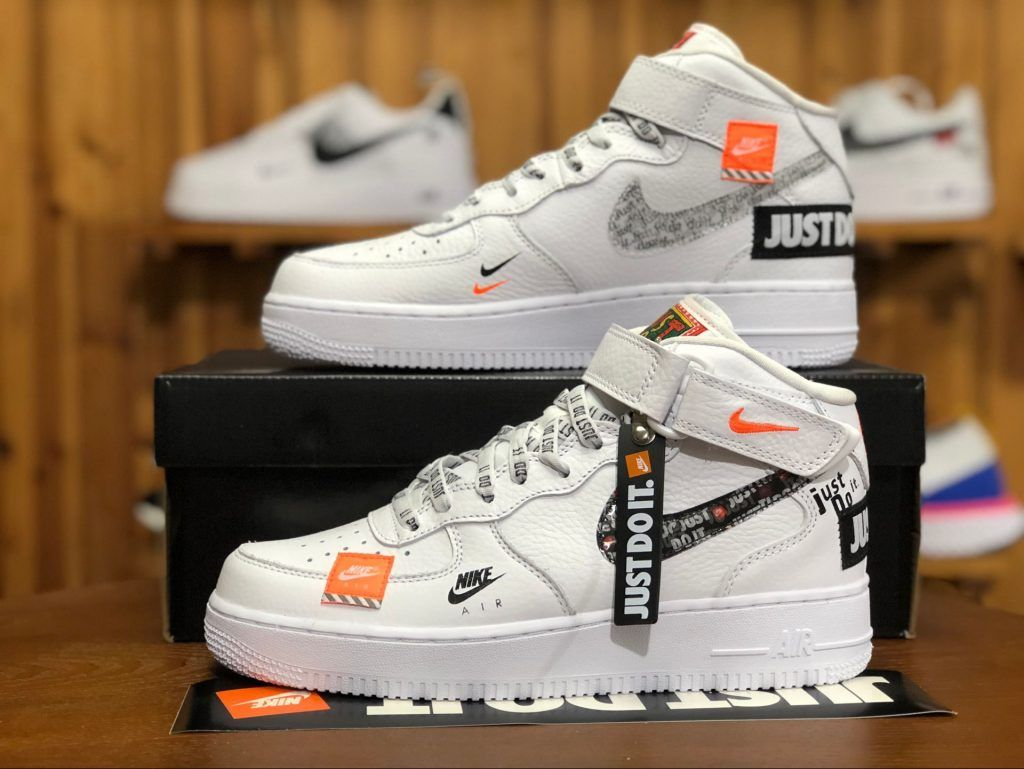 e42b1adee74 Nike Air Force 1 Mid Just Do It White Orange AQ8650-100-5
