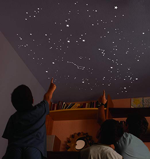 Set Kit 100 Star Bright Fluorescent Night Adhesive Ceiling Decoration Home