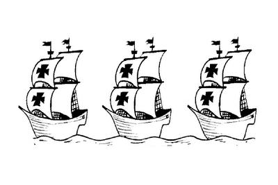 Dibujo De La Pinta Nina Y Santa Maria Para Colorear Las Carabelas De Colon Cristobal Colon Para Ninos Dibujo De Barco