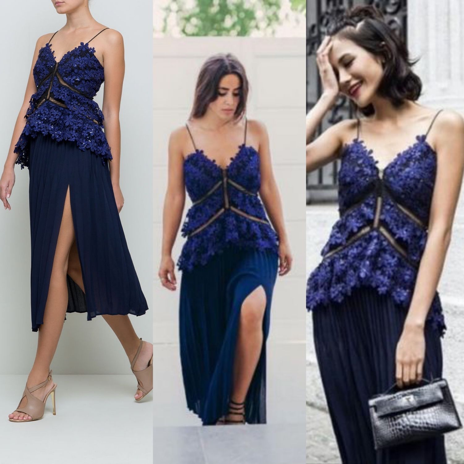 07532d27a5f7 Self Portrait Lace Double Peplum Midi Dress Pleated Navy Black UK Size 14  US 10 | eBay
