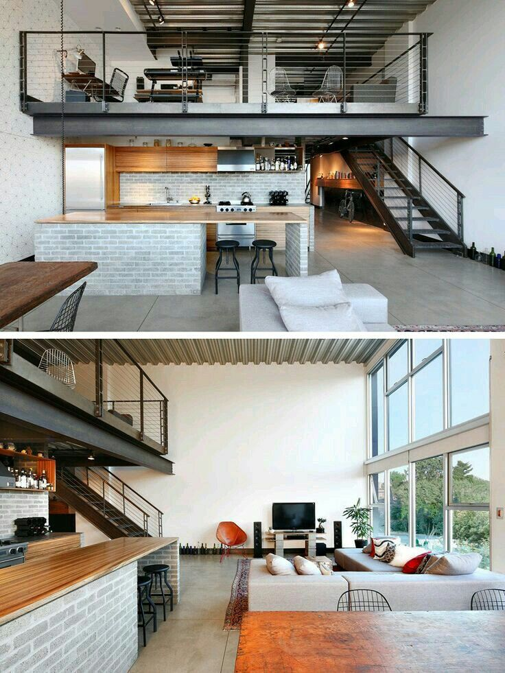 Industrial feel split level apartment with a lot of open