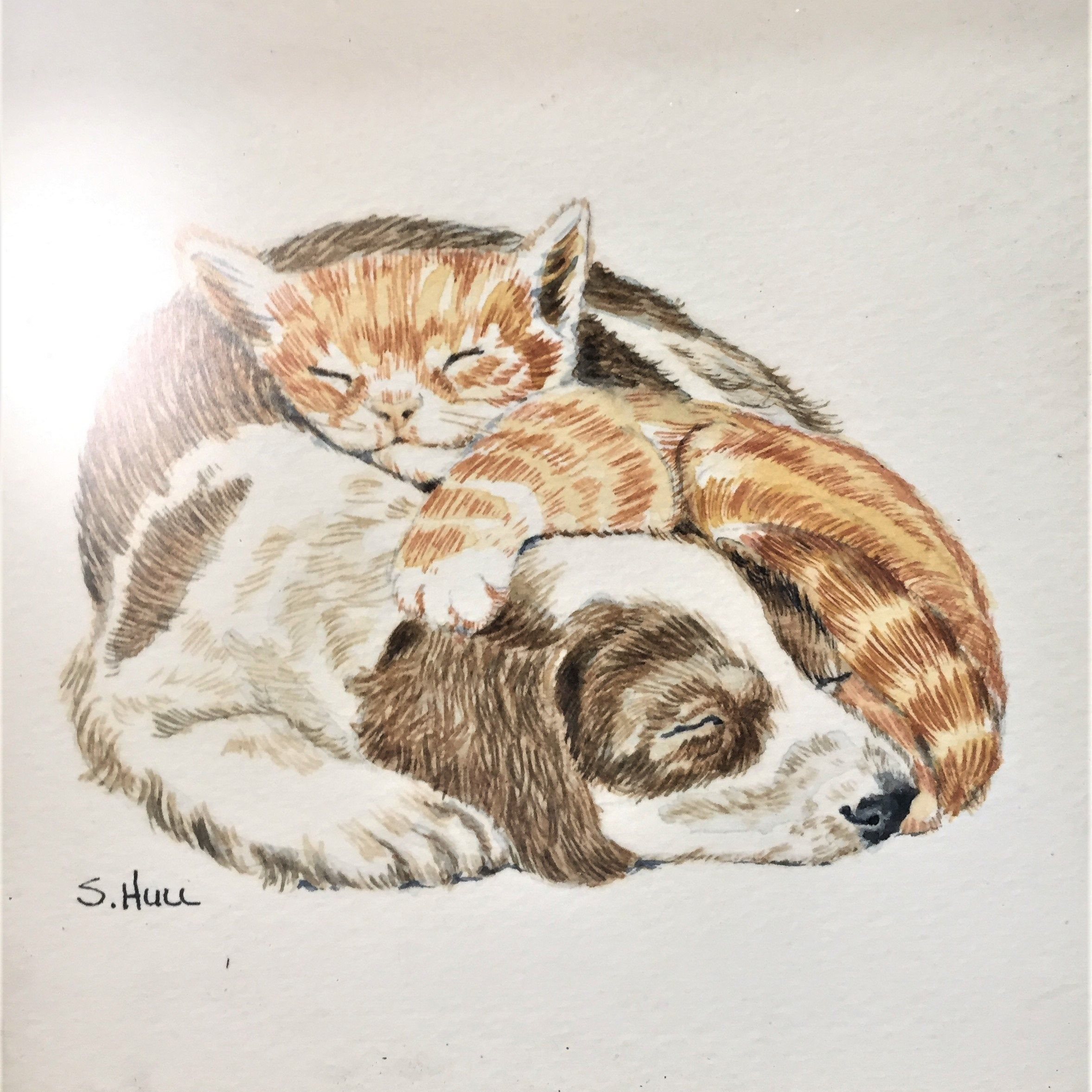 Framed Pencil Art Color Pencil Drawing Puppy And Kitten Snuggling Artist Signed S Hull Free Usa Shipping Ever Cute Puppies And Kittens Cute Puppies Kitten Art