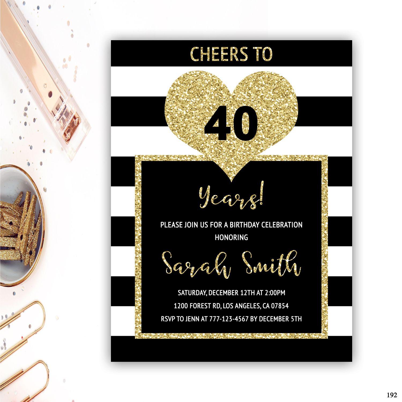 40th birthday invitations adult birthday invitations black