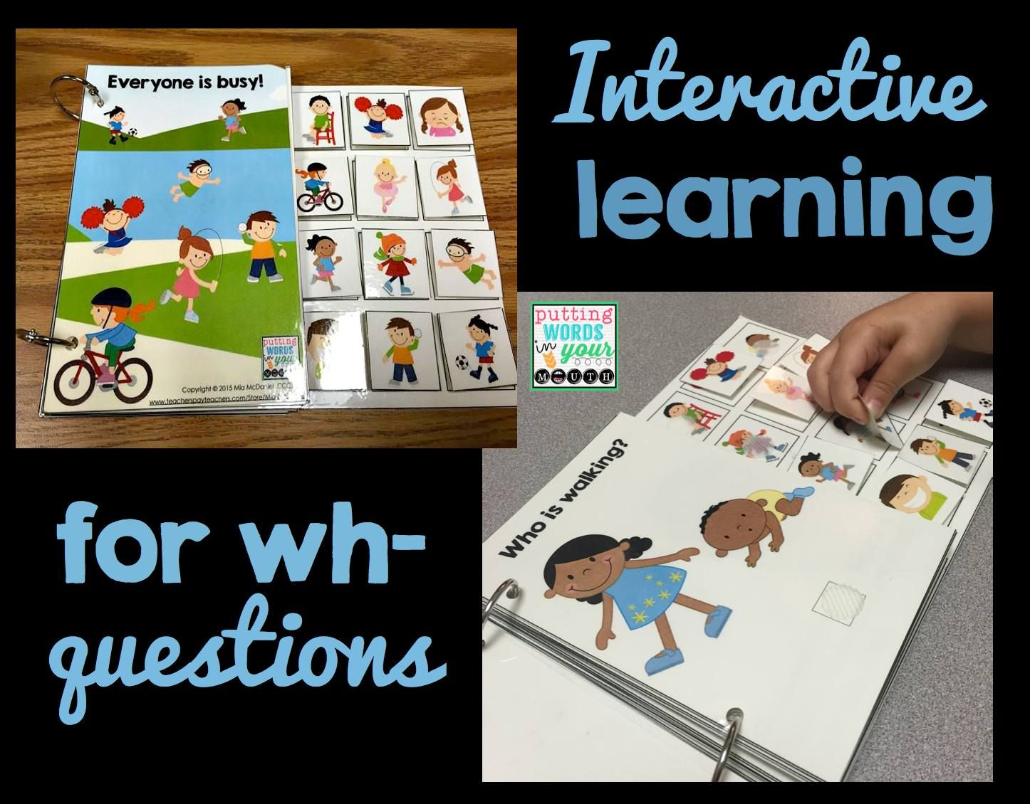 """Make those abstract """"wh"""" words concrete with these fun, hands-on interactive books and teaching tools for answering wh- questions!"""