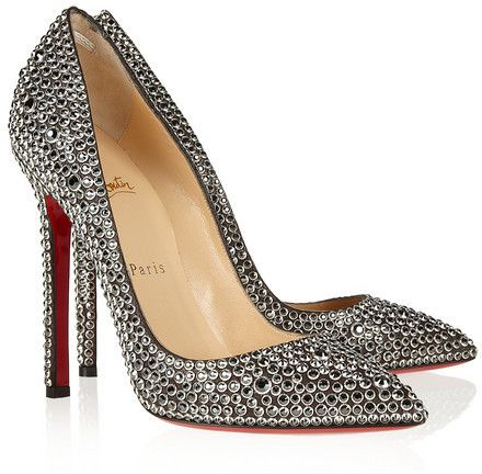 1261a403ac3 Now THESE are lux - Christian Louboutin Pigalle 120 crystal-embellished  suede pumps