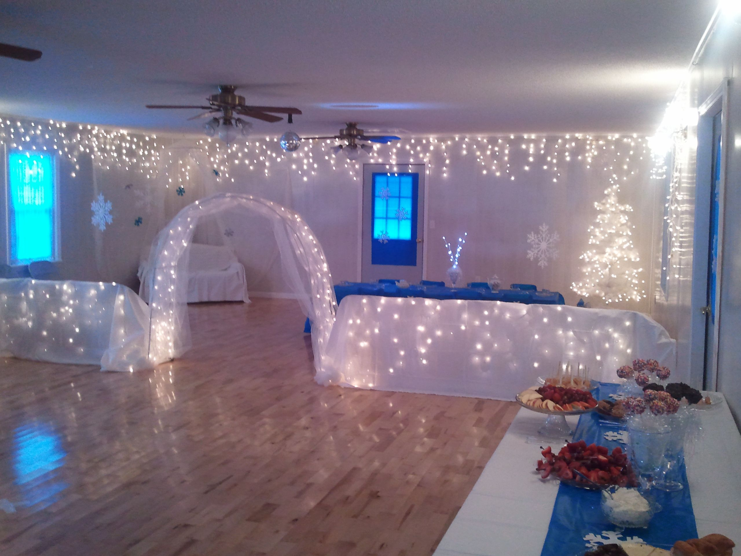Church Fellowship Hall decorated for Mid Winter Tea Party