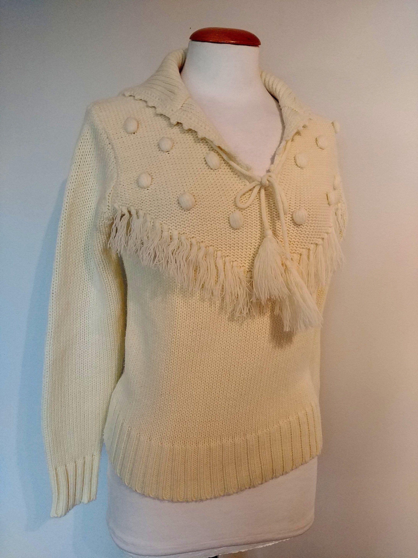 Vintage 70's Acrylic Sweater, Mod, Boho Fringe, Medium