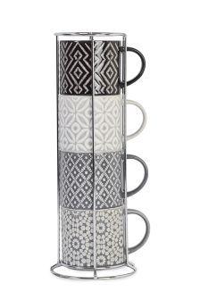 Set Of 4 Grey Geo Stacking Mugs | AW18 NEW CLASSIC | Pinterest | Geo ...