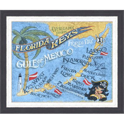 Ashton Wall Décor LLC Coastal \'Florida Keys Beach Map\' Framed ...