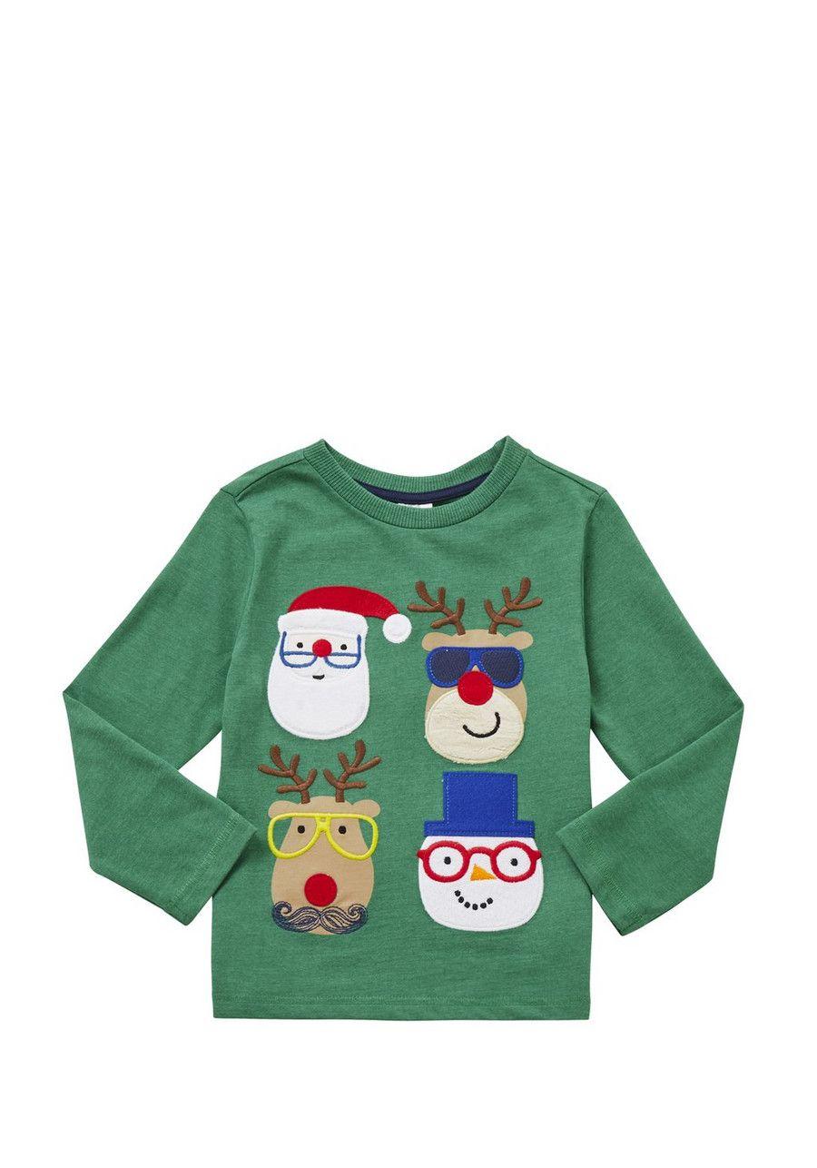 Clothing at Tesco | F&F Christmas Faces Long Sleeve T-Shirt > tops ...