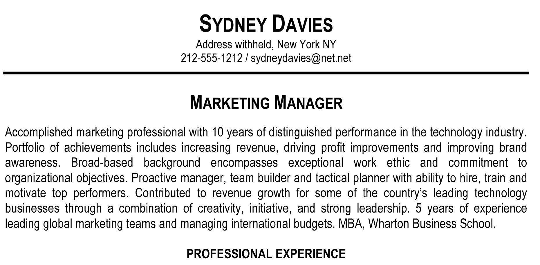resume profile statement recent graduate education section student