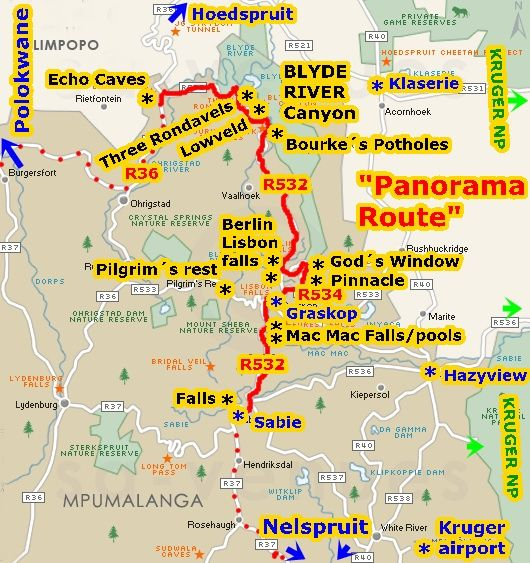 Kruger Park Panorama Route Map Google Zoeken South Africa