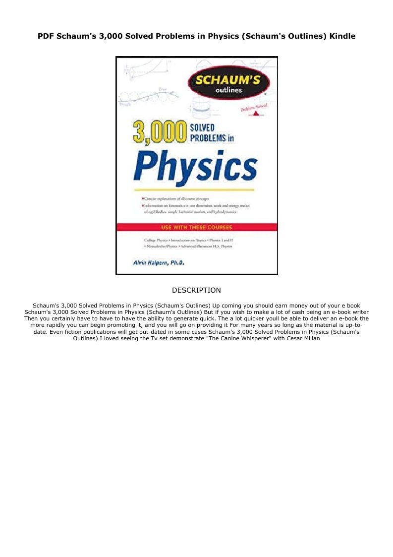 Pdf Schaum S 3 000 Solved Problems In Physics Schaum S Outlines Kindle Ebook Pdf Download Audiobook Epub En 2020