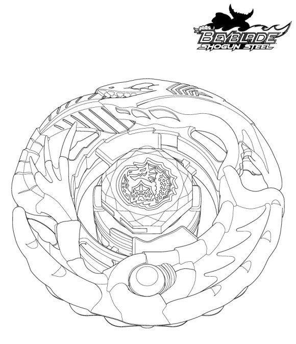 Cartoon Coloring, Beyblade Coloring Pages Shogun Steel