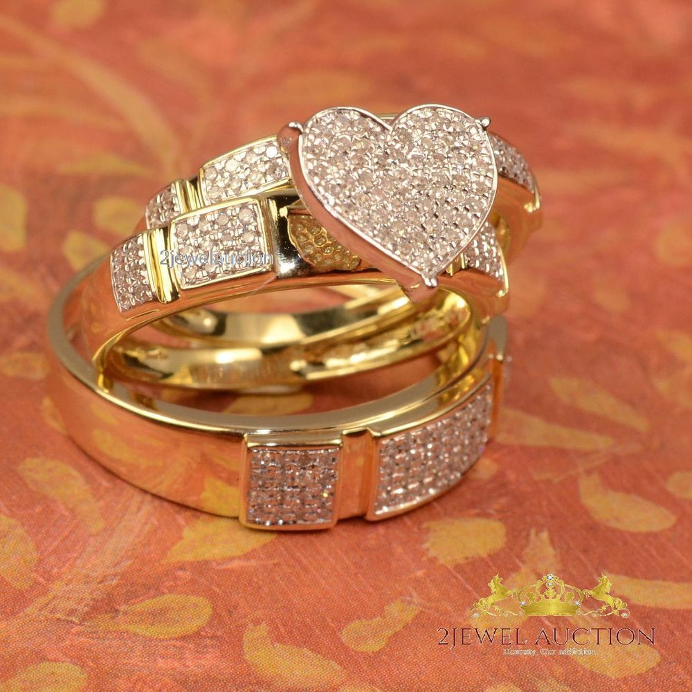14k Yellow Gold Over His Her Heart Shape Diamond Wedding Bridal