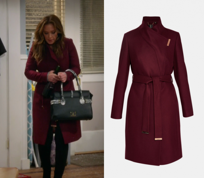 fbcf6bc2238 2x09 Vanessa Cellucci (Leah Remini) wears this dark red burgundy wrap coat  in this episode of Kevin Can Wait
